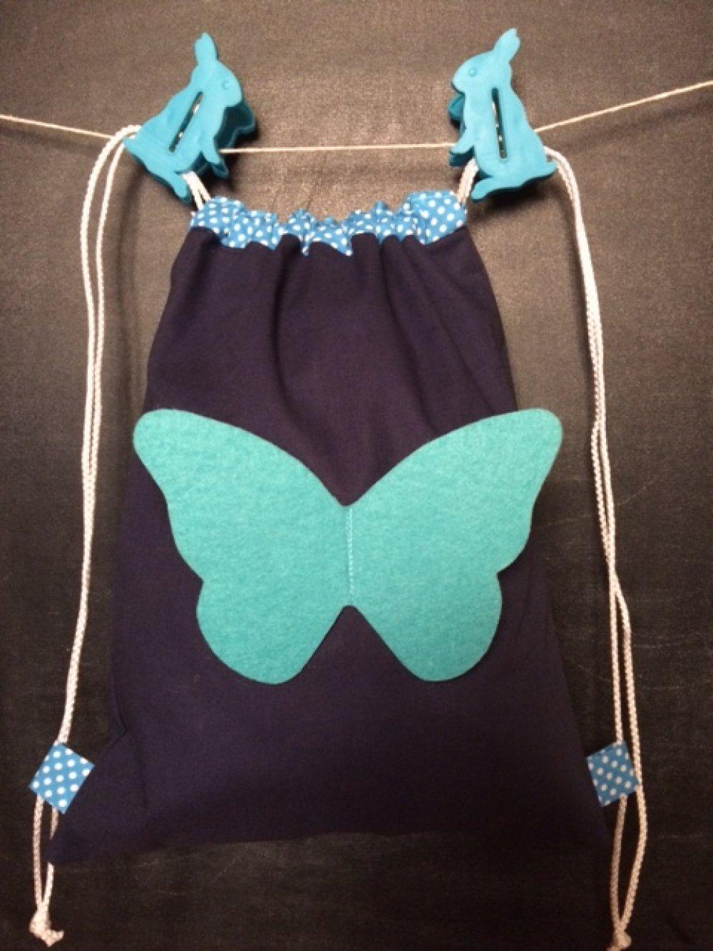 Sac à dos PAPILLON turquoise/marine
