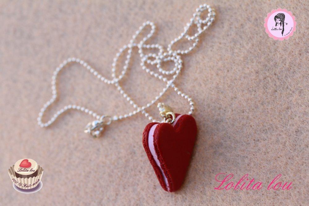 Bijoux gourmands : collier coeur rouge pailleté