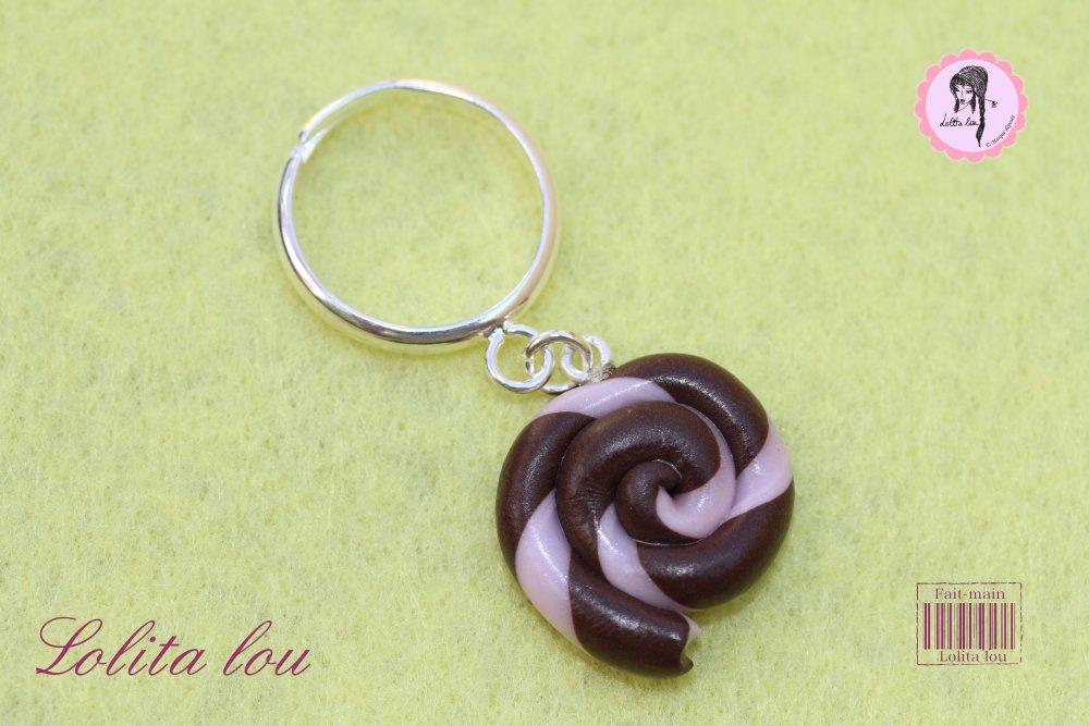 Bague sucette lollipop chocolat/rose