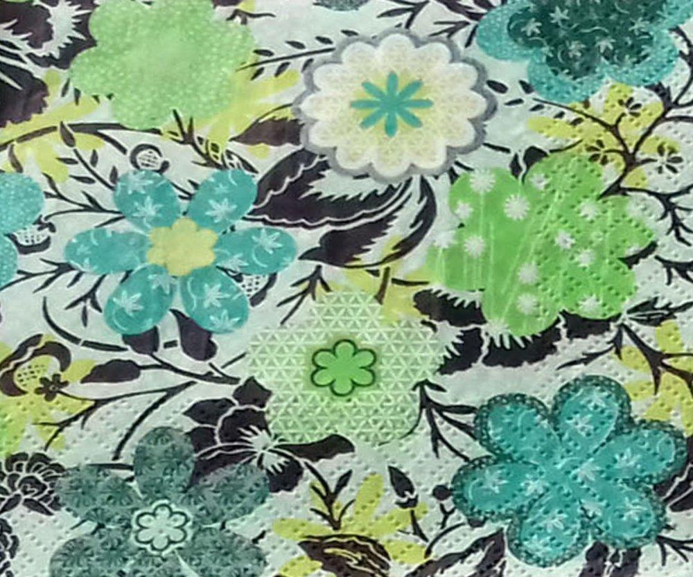 """46 """"serviette en papier"""" fleurs stylisées (1)"""