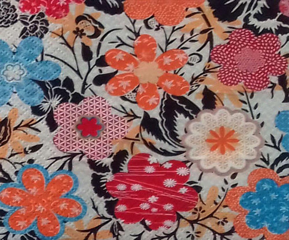 """47 """"serviette en papier"""" fleurs stylisées (2)"""