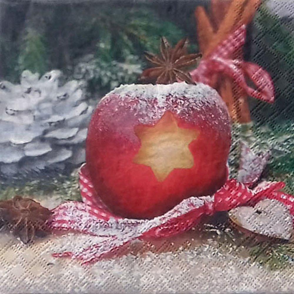"""452 """"serviette en papier"""" pomme & pomme de pin"""