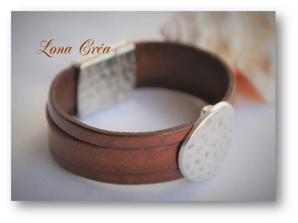Bracelet Manchette Cuir Cognac