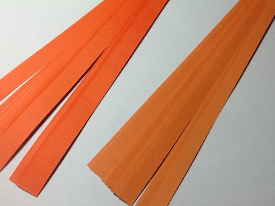 80 bandes de quilling papier orange 2 largeurs