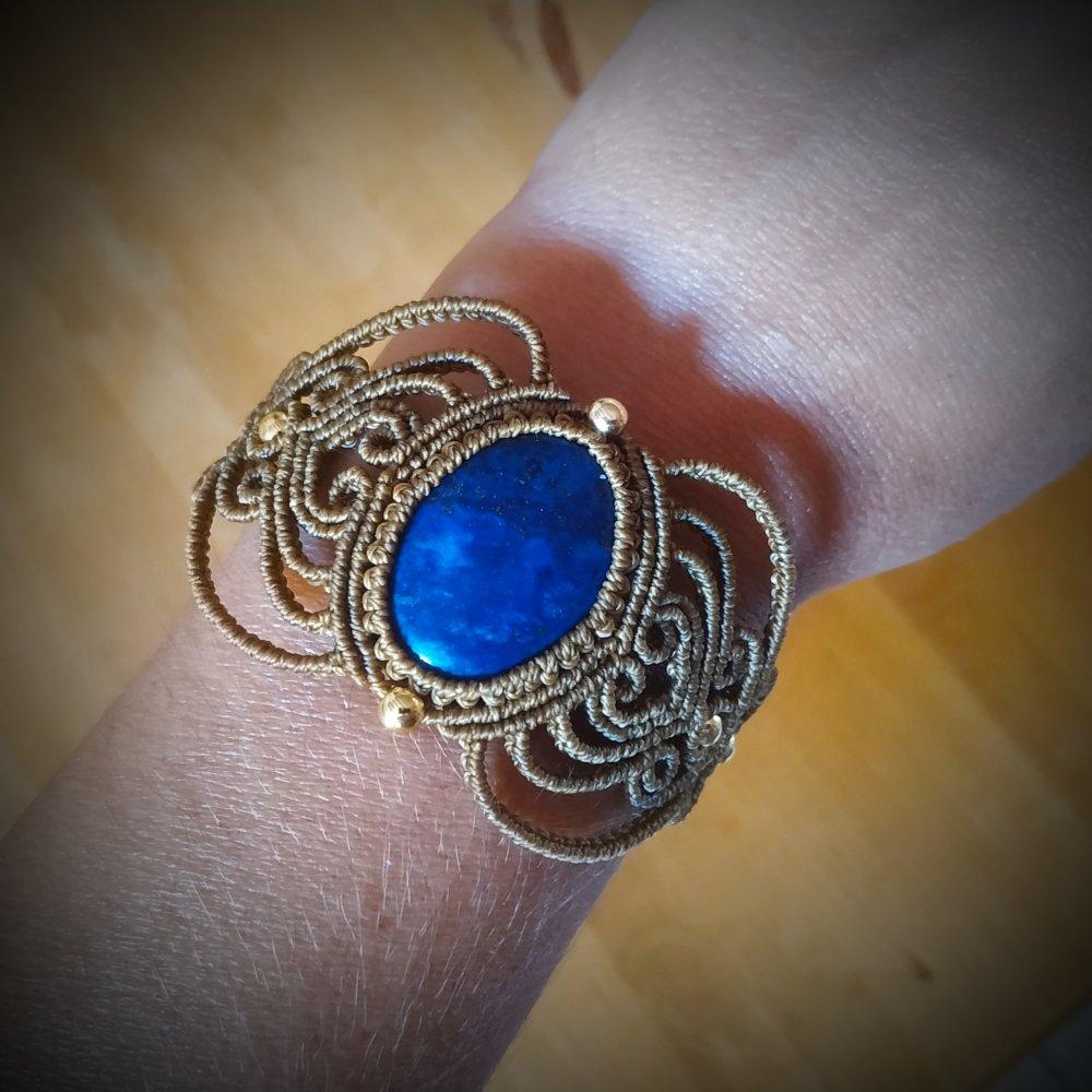 Bracelet macramé lapis-lazuli