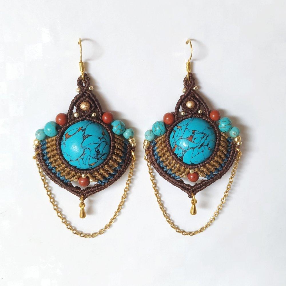 Boucles d'oreille macramé turquoises et jaspes