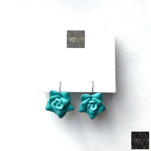 Boucles d'oreilles fleurs en pâte polymère