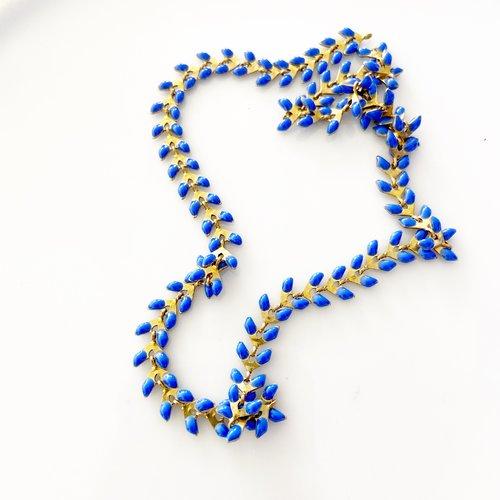 Chaine épis émaillée bleu