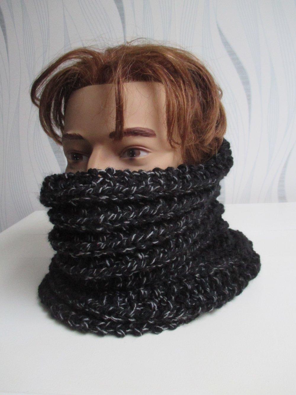 snood homme laine noir, snood , tour de cou, écharpe tricotée