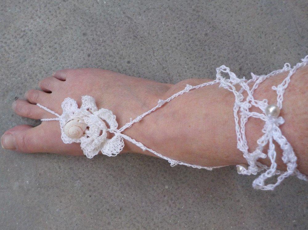 bijoux de pied en coton  blanc au crochet  avec coquillage