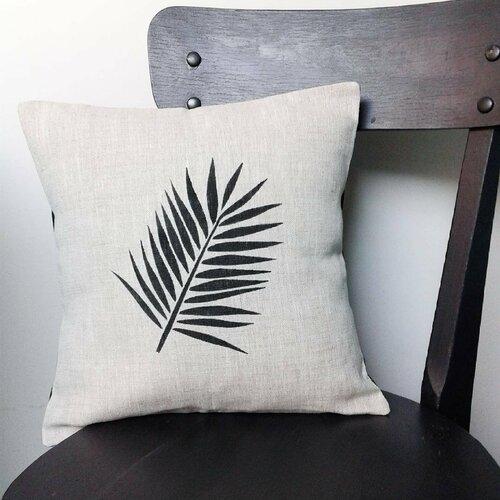 Petit coussin décoratif feuille de palmier en lin