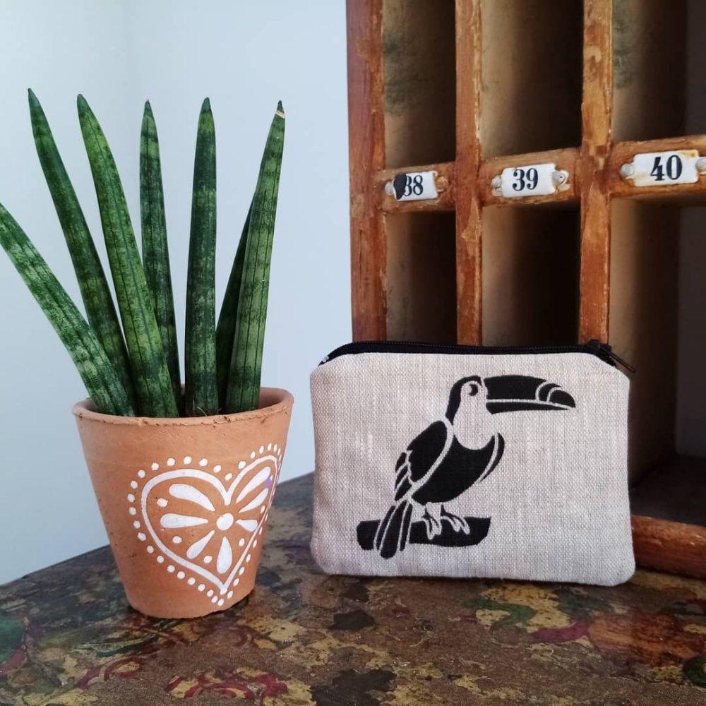Porte monnaie toucan en lin