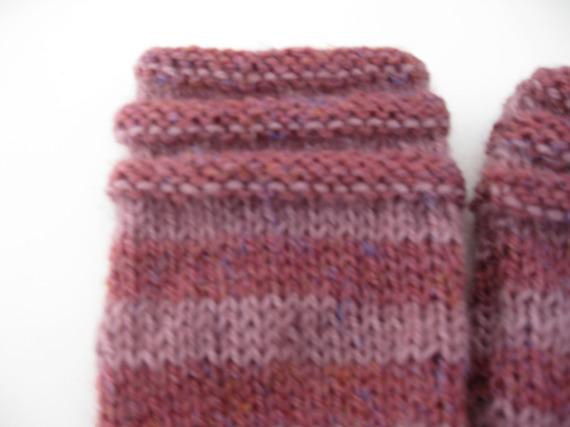 mitaines en laine vieux rose et rose poudré