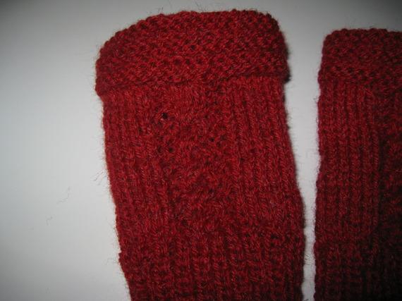 mitaines en laine coloris bordeaux