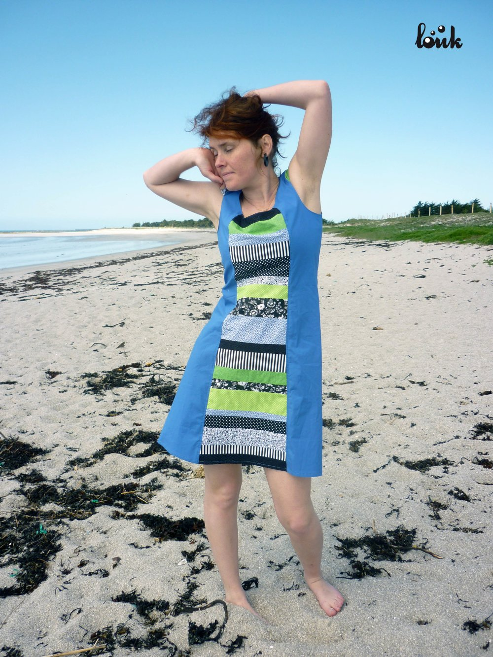 Robe patchwork bleu lavande, noir, blanc et vert
