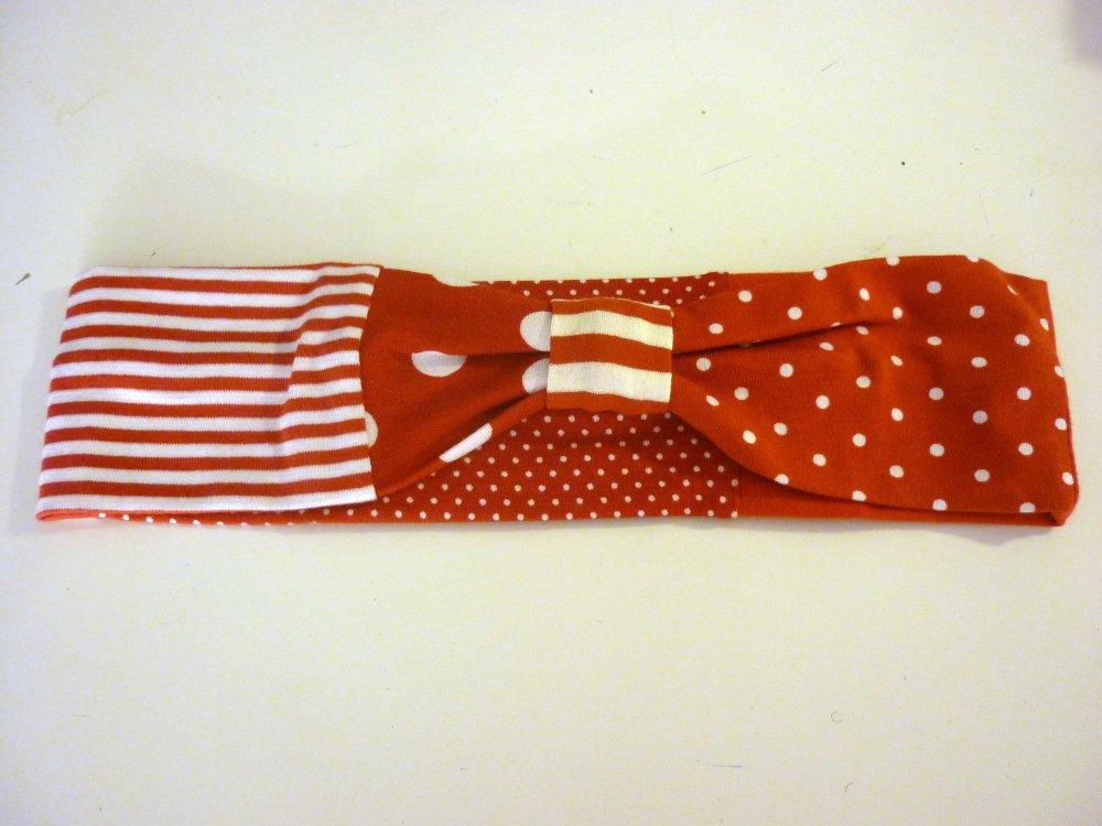 Bandeau en jersey rouge et blanc