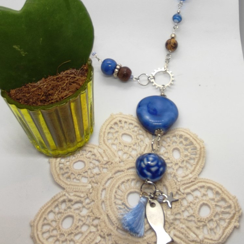 Sautoir bleu blue
