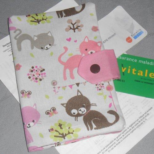 Pochette médicale porte ordonnance carte vitale en tissus chats rangement documents médicaux