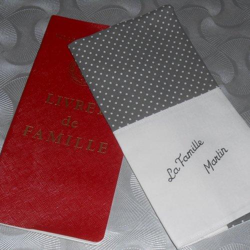 Personnalisable protège livret de famille housse pochette personnalisée en tissu cadeau de mariage pacs naissance