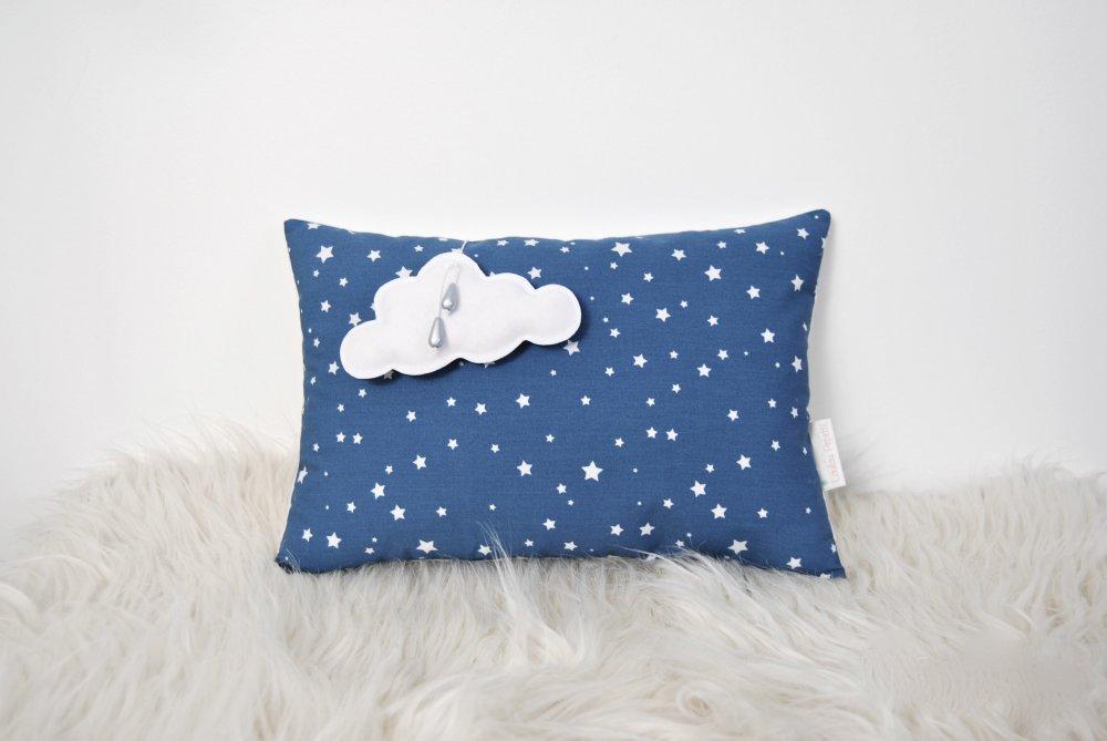 Coussin nuage médaillon - Bleu et étoiles blanches
