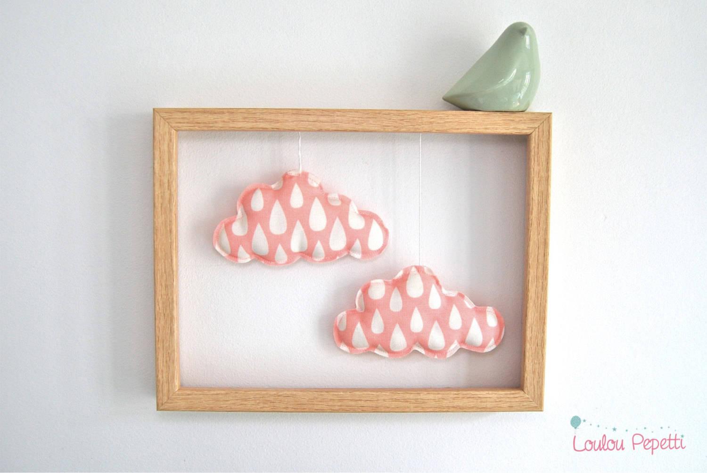 """Décoration murale - Cadre nuages roses - """"petits nuages apprivoisés"""""""