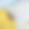 Housse de coussin en coton bio hirondelles - moutarde et turquoise