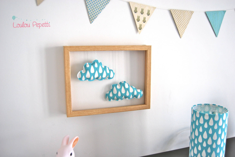 """Décoration murale - cadre nuages bleus - """"petits nuages apprivoisés"""""""