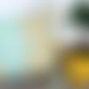 Housse de coussin à pompons - thème bohème floral - coloris jaune et mint - coton biologique