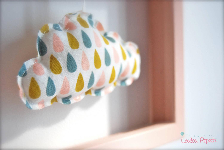 """Décoration murale - cadre nuage et petites gouttes - """"petit nuage apprivoisé"""""""