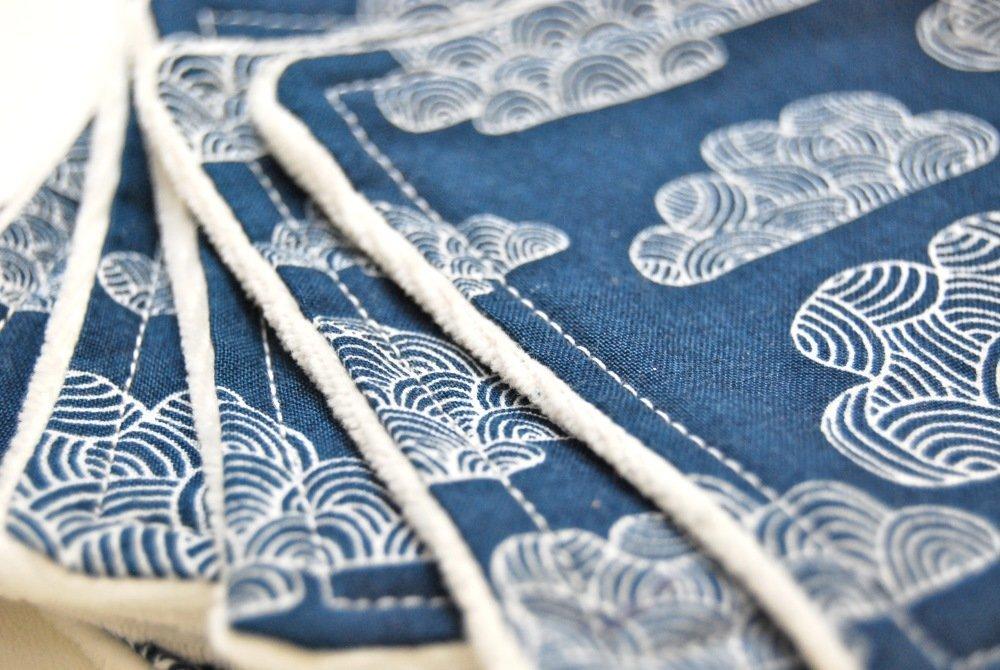 Lot de 7 lingettes lavables extra douces en coton bio - Bleu motifs nuages