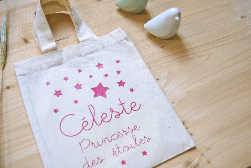 Tote bag enfant en coton bio à personnaliser - Princesse des étoiles
