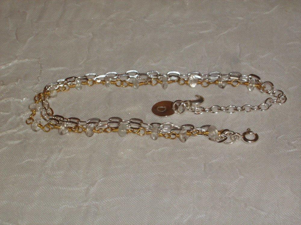 Bracelet argent massif + or 22k_aigue marine_personnalisé_gravure_création_ fait main.