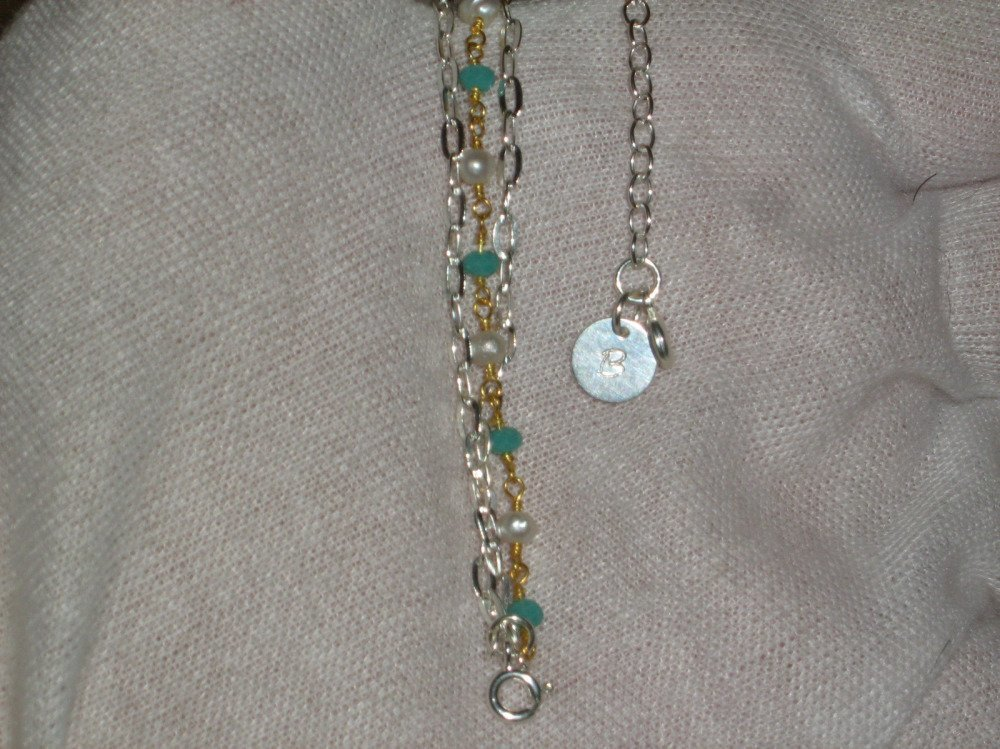 Bracelet argent massif 925 + or 22k_calcédoine et perle_personnalisé_gravure_création_ fait main.