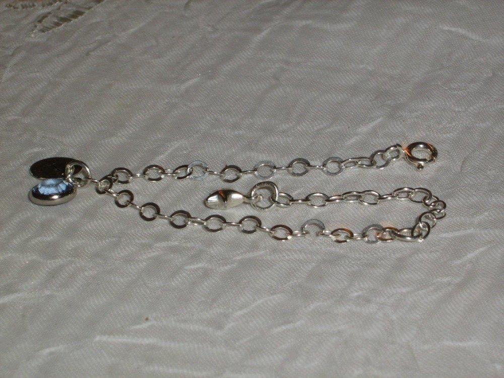 Bracelet argent massif 925_bébé/enfant_personnalisé_pierre naissance_gravure_création_ fait main.