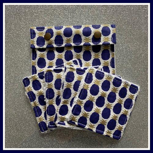 Lingettes démaquillantes en fibre de bambou + pochette