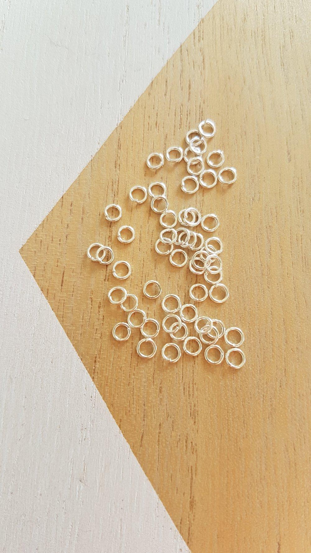 100 anneaux argent 4mm, anneaux ouverts argent