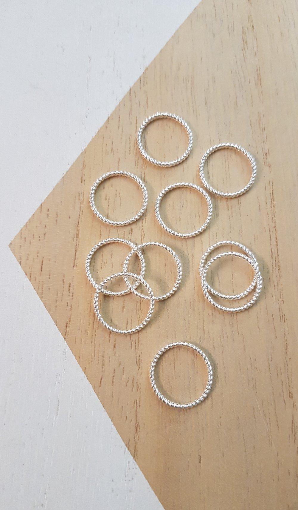 10 anneaux connecteurs argent 18mm, anneaux argent