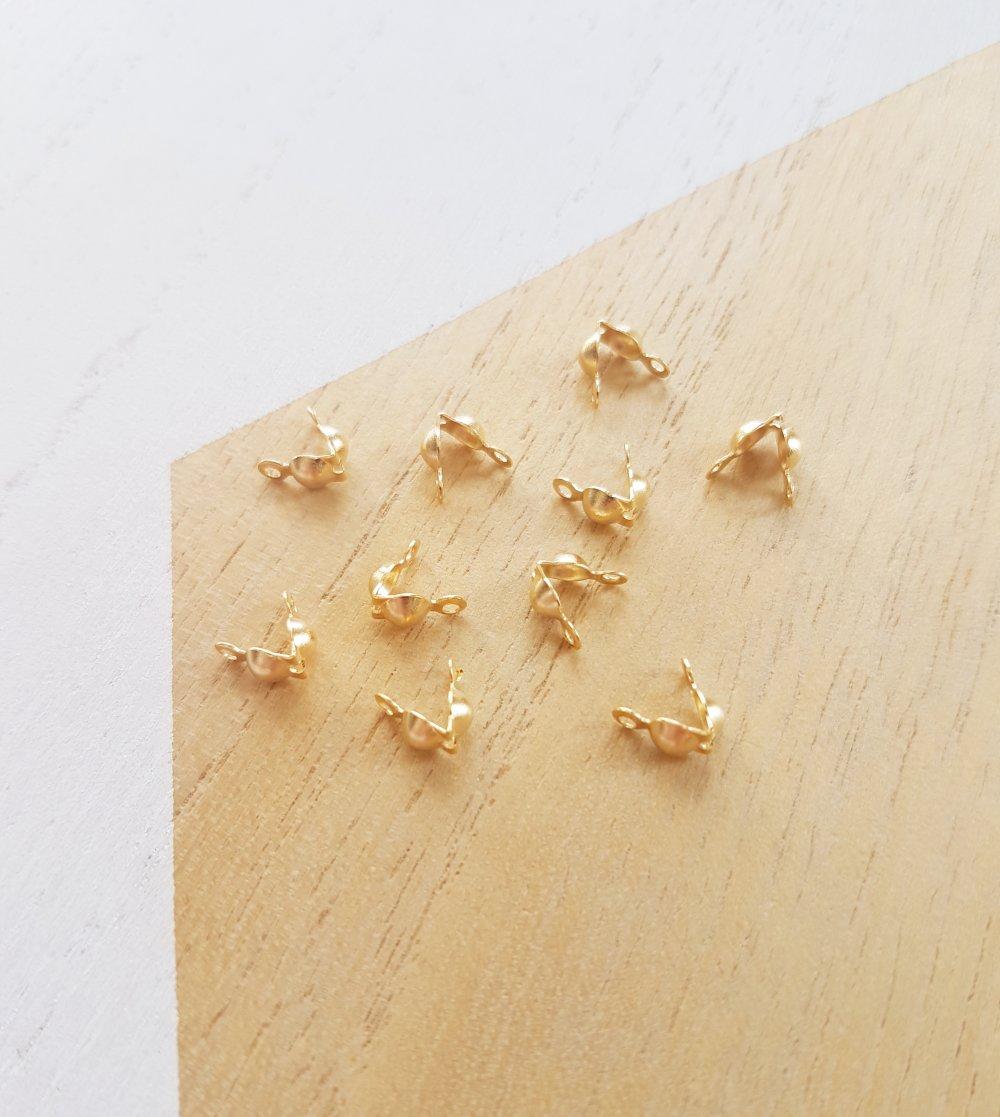 10 Caches noeuds doré en acier inoxydable, fermoirs acier doré
