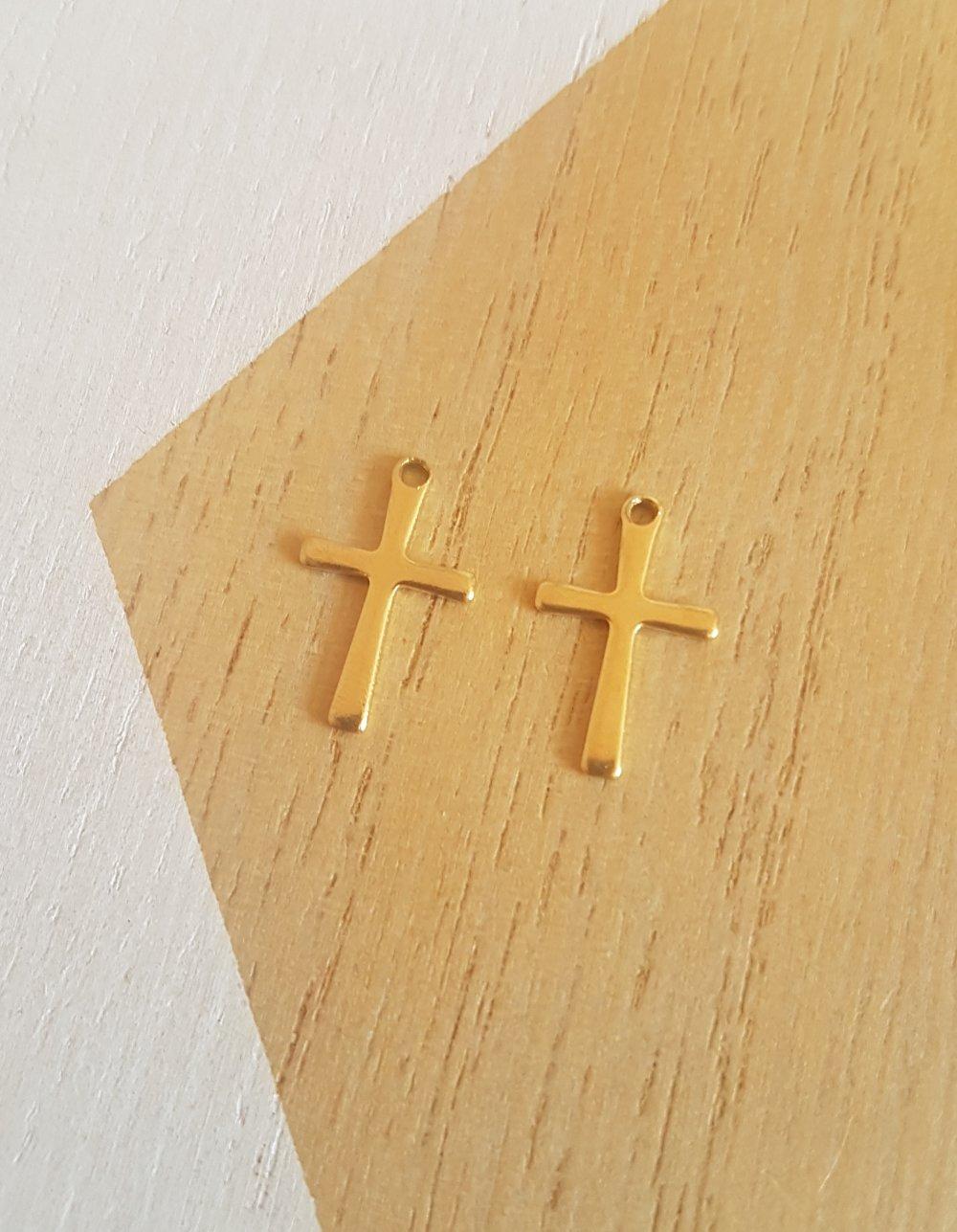 2 croix acier inoxydable, breloques mini croix doré 16mm