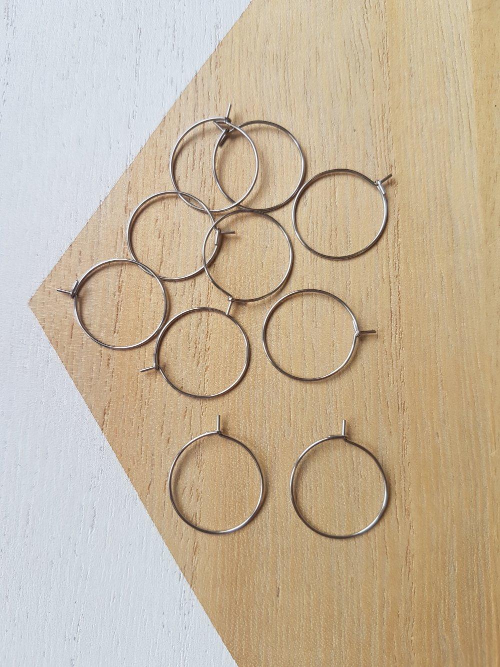 10 Boucles d'oreille créoles en acier inoxydable 20mm, crochet, hameçon, créoles acier argent