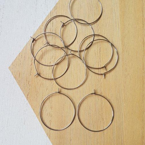 10 boucles d'oreille créoles en acier inoxydable 30mm, 30x35mm, crochet, hameçon, créoles acier argent