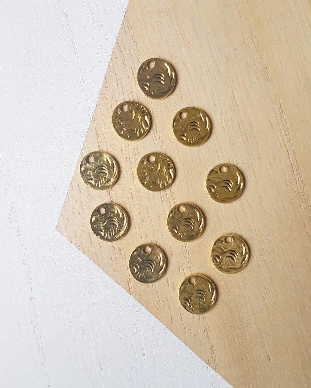 10 breloques rondes doré, 10 pendentifs ronds doré, 10 sequins ronds