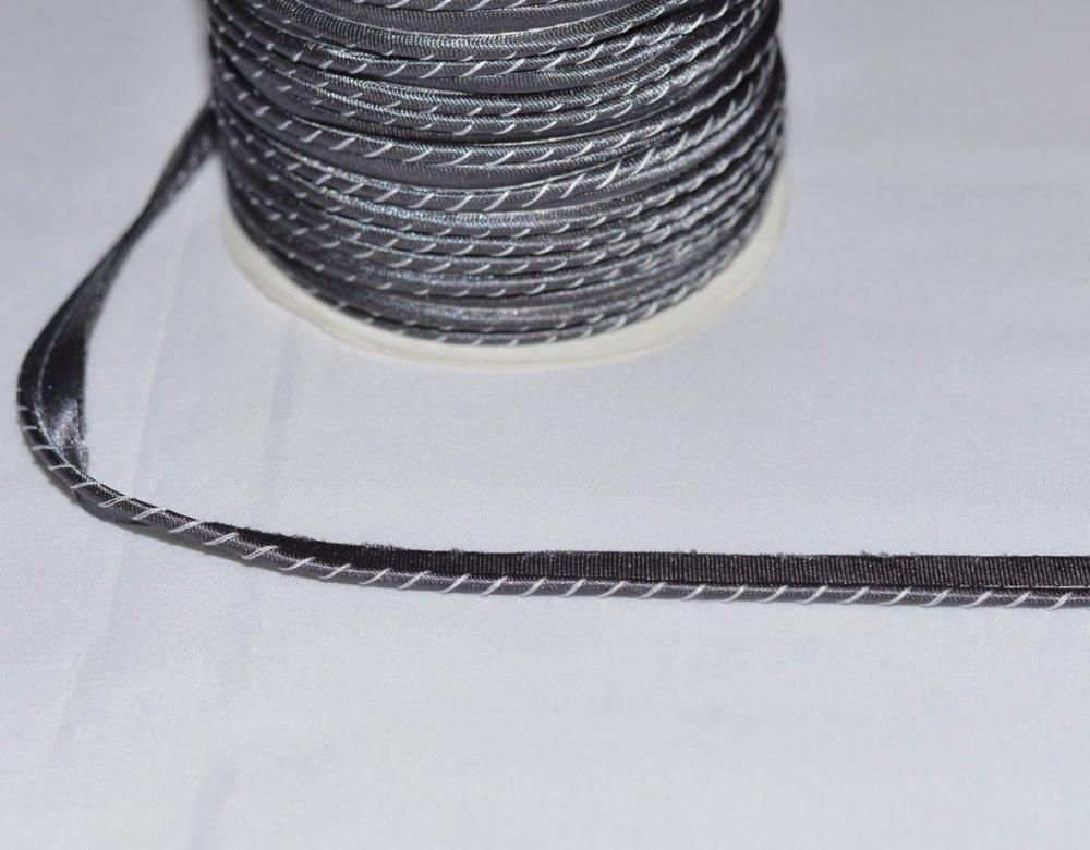 Passepoil Satin - 11 mm -  Gris Rayé Blanc, au mètre
