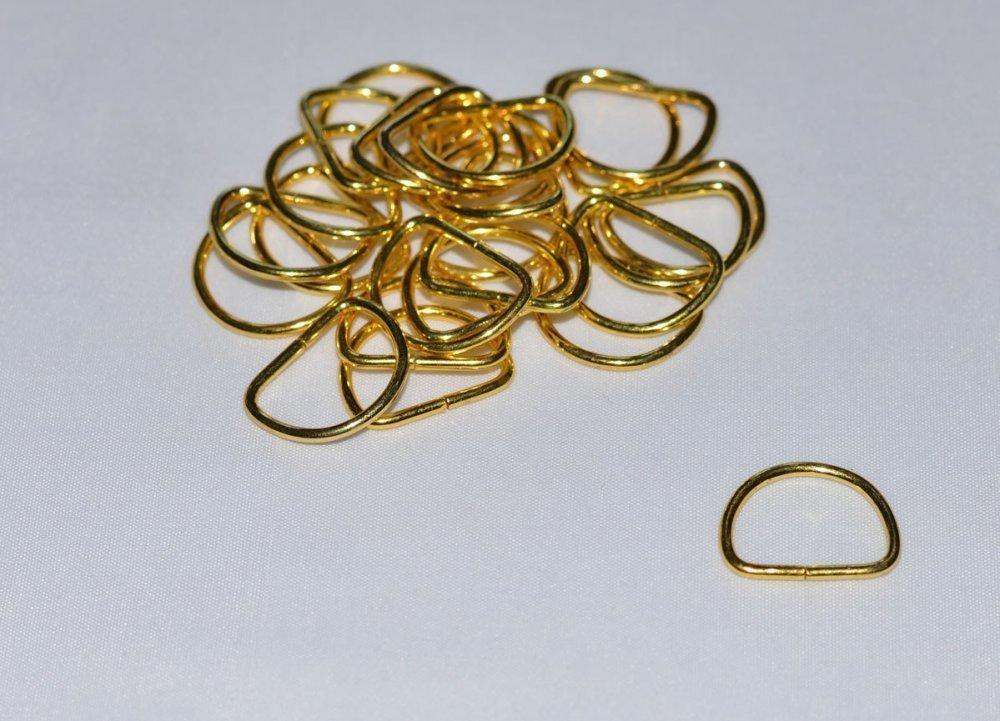 10 mm - Or, Doré - Lot de 10 Boucles Demi Rond Métal - Qualité extra -
