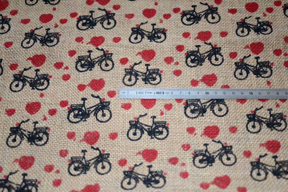 Toile de Jute, Motif Bicyclette, Coupe par 50 cms