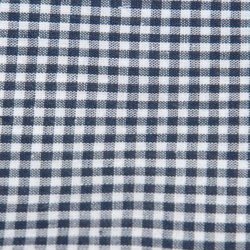 Tissu coton vichy bleu marine petit carreau - coupe par 20 cms