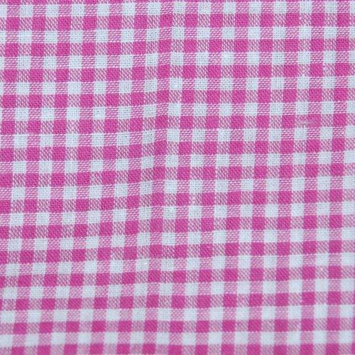 Tissu coton vichy fuchsia petit carreau - coupe par 20 cms