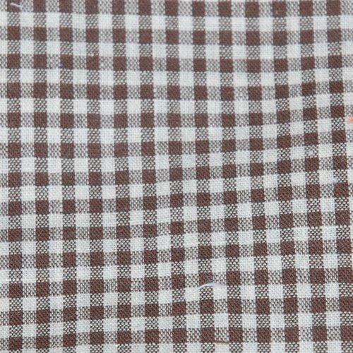 Tissu coton vichy marron petit carreau - coupe par 20 cms