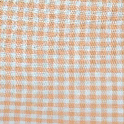 Tissu coton vichy orange petit carreau - coupe par 20 cms