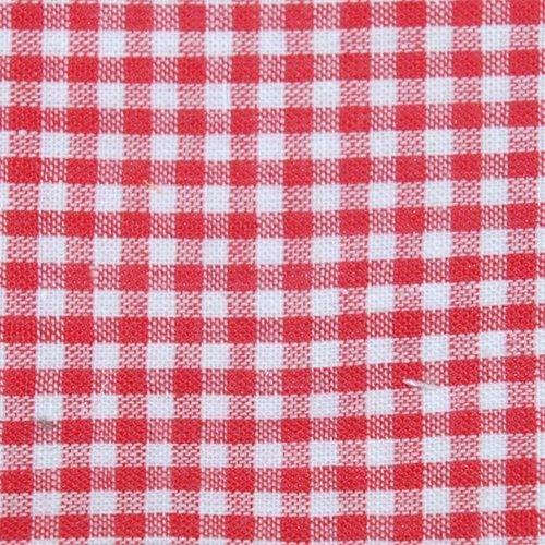 Tissu coton vichy rouge petit carreau - coupe par 20 cms